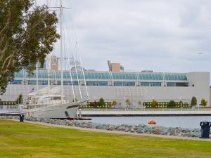 Dock--Large sailboat