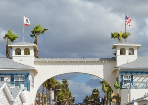 Pier entrance with flags