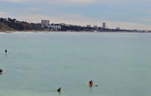 Malibu surfers and coastline