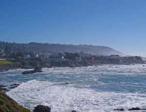 Cambria coast looking at houses