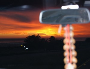 Cambria-sunset in the car.