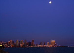 San Diego full moon at nigt Pinterest