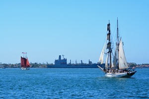 Two pirate ships approaching