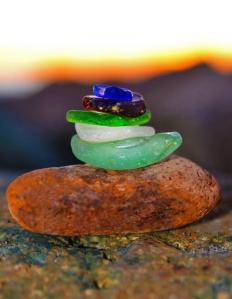 Sea Glass on rock